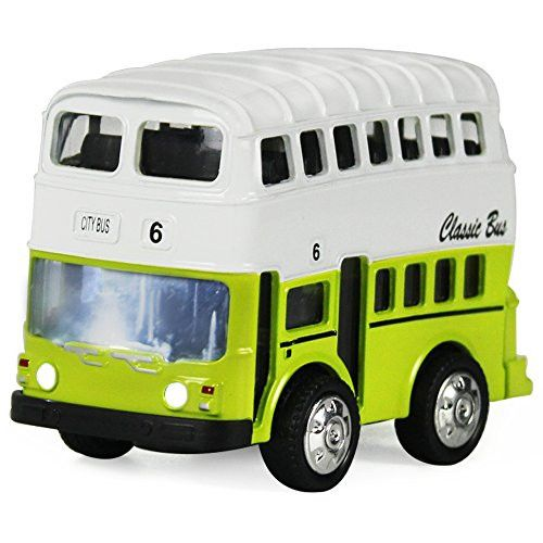 Double Decker Bus Pull Back Play Toy Vehicles, Model Car Kits, Old Car Models, Classic Diecast Model Cars, Moving Vehicle Toys, School Bus Die Cast Bus with Lights and Sounds - iPlay, iLearn (Green)
