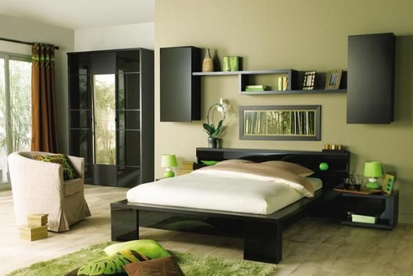 Green Bedroom.. Love the funky furniture