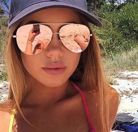 Sophia- Rose Gold Aviator Mirrored Sunglasses