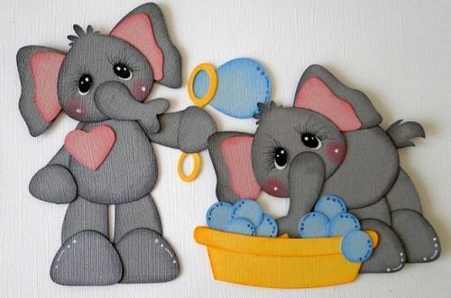 ELITE4U Elephants Blowing Bubbles Paper Piecing Boy Girl Premade DANDERSON651   eBay