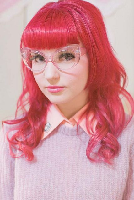 Hair: Hair Colors, Hairstyles, Colored Hair, Colorful Hair, Pretty Pink, Hair Style, Clear Frames, Hot Pink Hair, Red Head