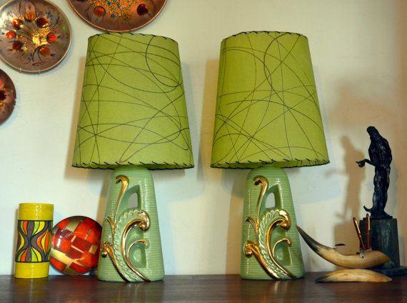 Stunning Apple Green Midcentury Table Lamp Pair by MerlesVintage