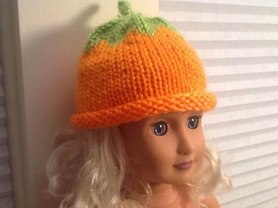 Cutest Little Orange Pumpkin Hat for you American Girl Doll or