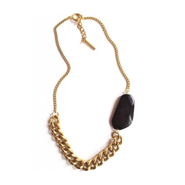 Gold Plated Brass Necklace with Black Quartz Chunky ($59) ❤ liked on Polyvore featuring jewelry, necklaces, long statement necklace, chunky chain necklaces, gold necklace, long necklaces and long chunky necklaces