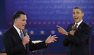 #211 Oct. 17-Tuesday's Debate a Hit on Social Media;   President Barack Obama and Republican presidential candidate Mitt Romney exchange views during the second presidential debate at Hofstra University, Tuesday, Oct. 16, 2012, in Hempstead, N.Y. (AP Photo/David Goldman)