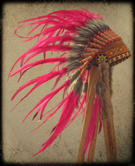 Pink Feather Red Indian Style Headdress With by ParadiseGypsies521 x 640 | 104.2 KB | www.etsy.com