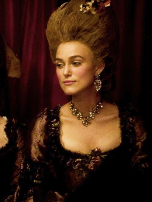 Keira Knightley as Georgiana Cavendish, Duchess of Devonshire inThe Duchess (2008).