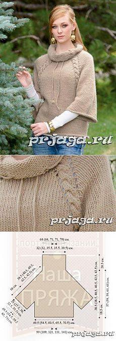 Пуловер, вязание спицами реглана от горловины