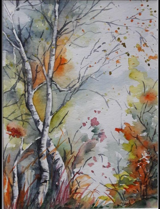 Herbst (2.)- Original Aquarell - 17x24 cm, Rahmen 26x32 cm Das Bild ist ein Original Aquarell, auf hochwertigem Aquarellpapier 300 g, mit Schmincke Aquarellfarben gemalt und handsigniert....