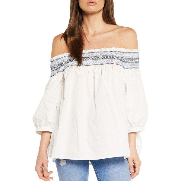 Bardot Belize Smocked Top ($89) ❤ liked on Polyvore featuring tops, white, bardot top, off the shoulder tops, white pullover, sweater pullover and pullover top