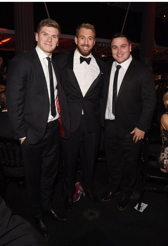 Owen Farrell, Chris Robshaw & Jamie George. By H