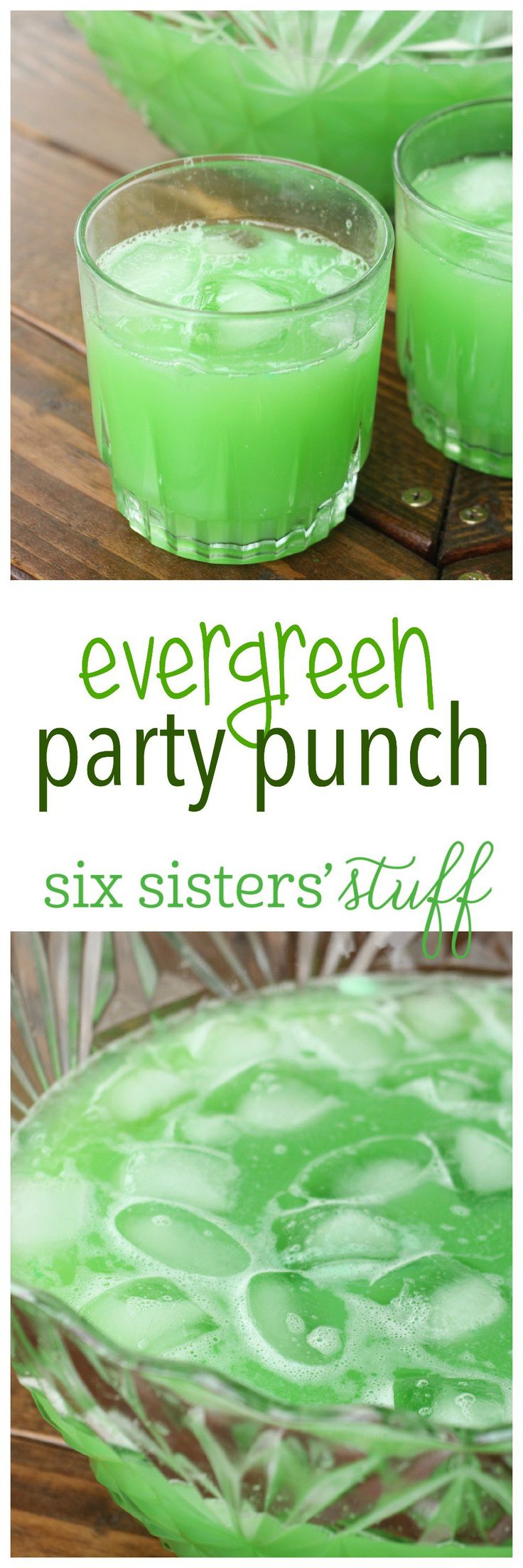 Evergreen Party Punch from SixSistersStuff.com - the perfect drink for Halloween, Christmas, and St. Patrick's Day parties!