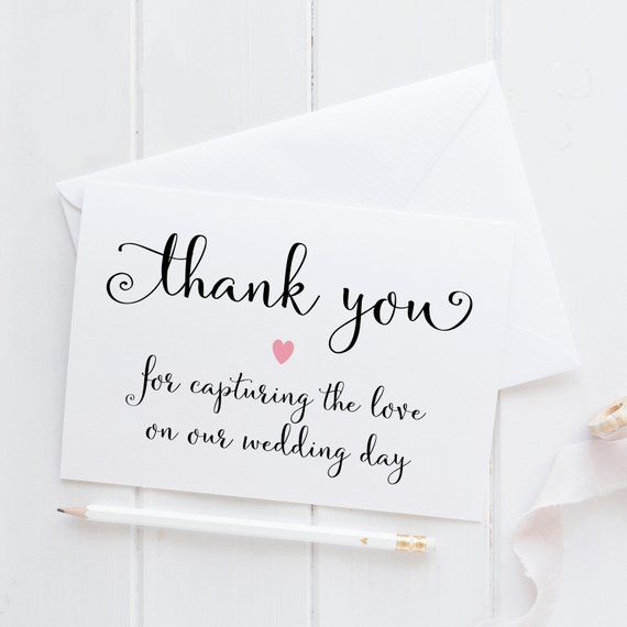 Thank You Wedding Photographer Photographer Thank You Card Thank You For Capturing Our Special Day Wedding Photographer Thank You