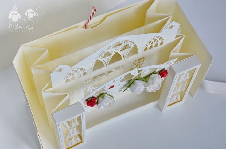Wedding in a library kirigami card / Открытка Свадьба в библиотеке (киригами, 3д)