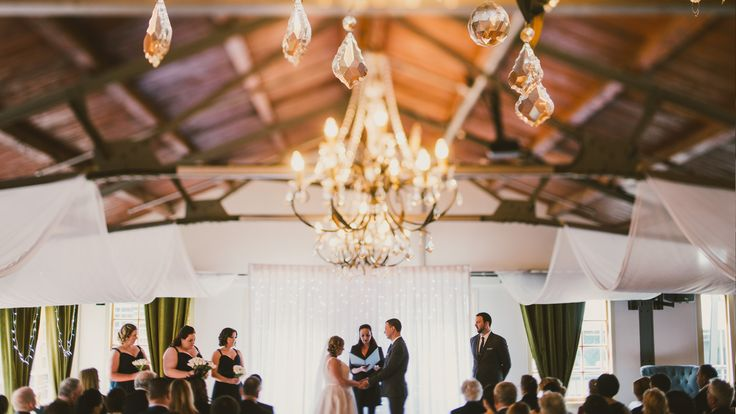 This is where a tilt-shift lens really shines: The Foxglove Bar & Kitchen Ballroom - chandeliers and all - looking resplendent for Aileen & Kieran's wedding ceremony on Saturday, and being officiated by the always-awesome Miranda.