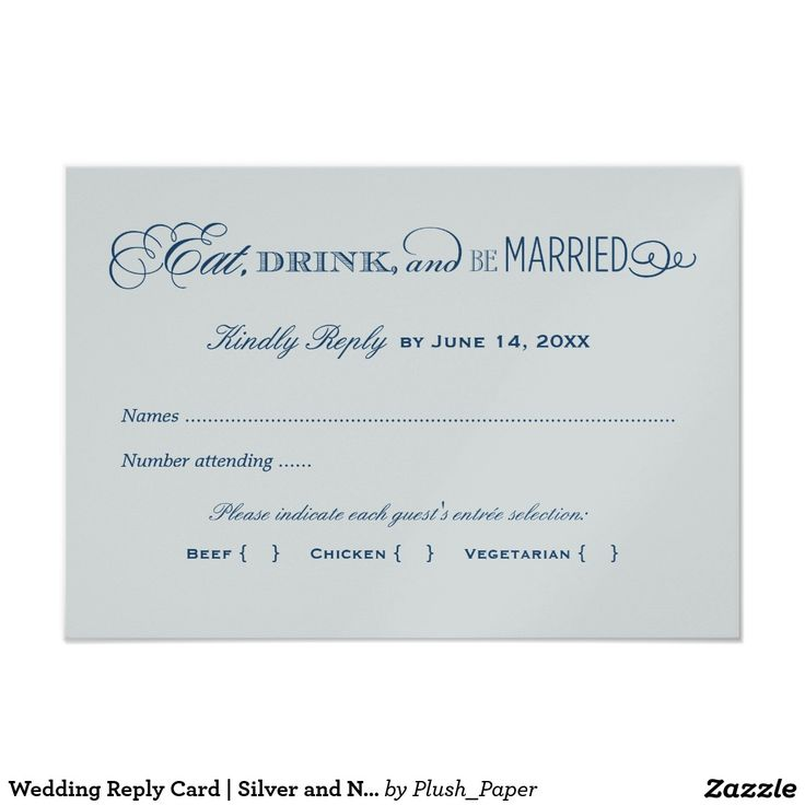 Wedding Reply Card   Silver and Navy Blue