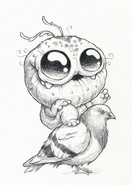 """5"""" x 7"""" signed original drawing by Chris Ryniak. Graphite on off-white paper stock. Packagedin an Ultra•pro rigid plastic sleeve."""