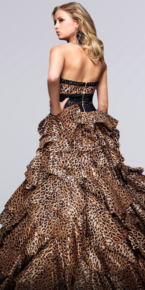 Long black and leopard print dress