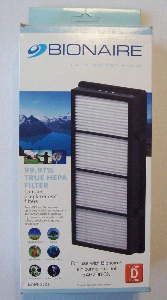 Bionaire True HEPA Air Filter (2 inside) BAPF300-CN9 Type D (Damaged Outer Box) #Bionaire