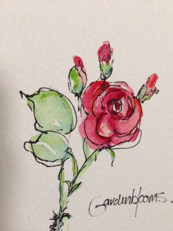 Single Rose Watercolor Card by gardenblooms on Etsy, $3.50