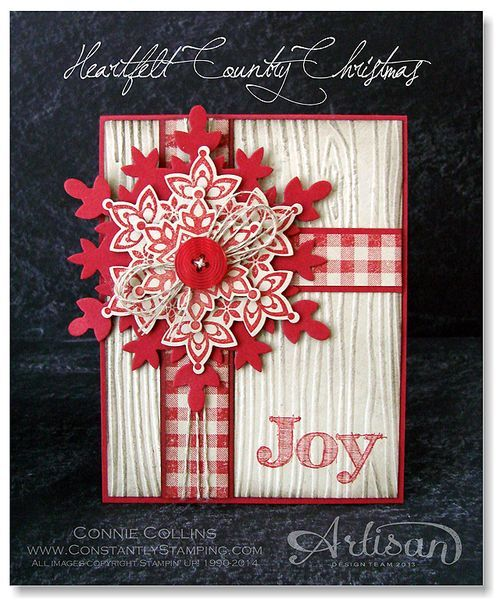 "Heartfelt Country Christmas ""Joy"" Card...with gingham trim...Connie Collins, Constantly Stamping."