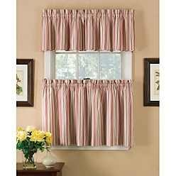 Tier curtains ticking stripe and country living on pinterest - Kmart kitchen curtains ...