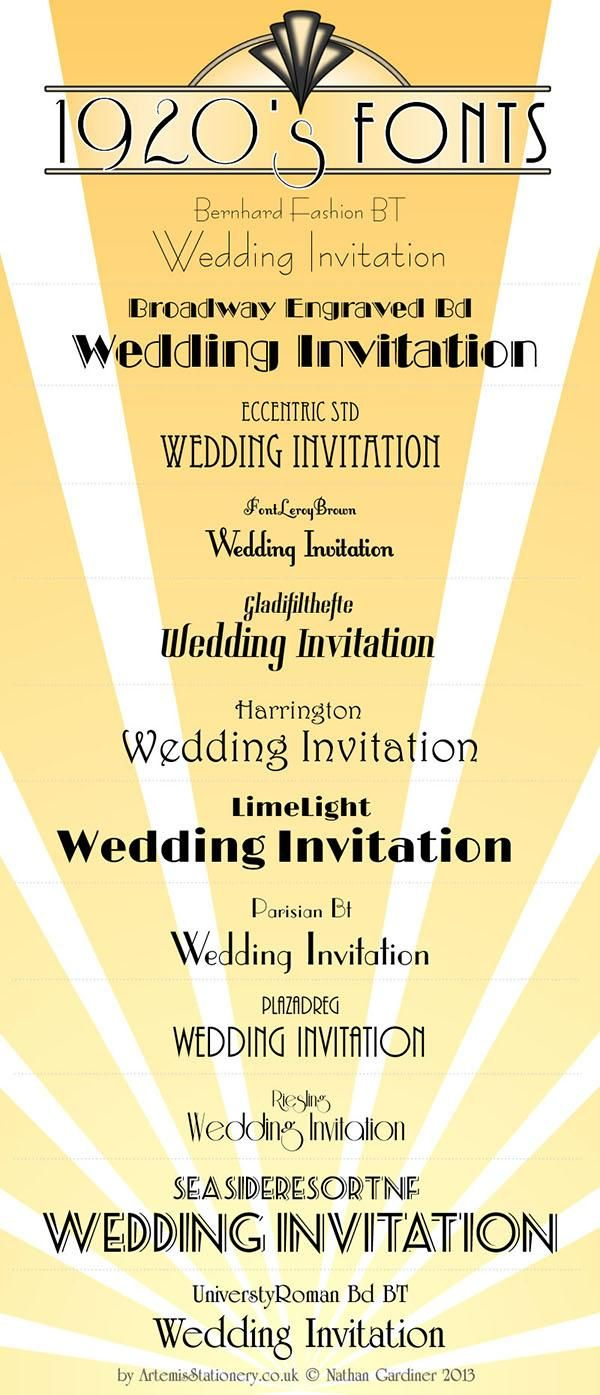 Art Deco 1920s invitations | 1920's and Art Deco Fonts — by Nathan from Artemis Stationery