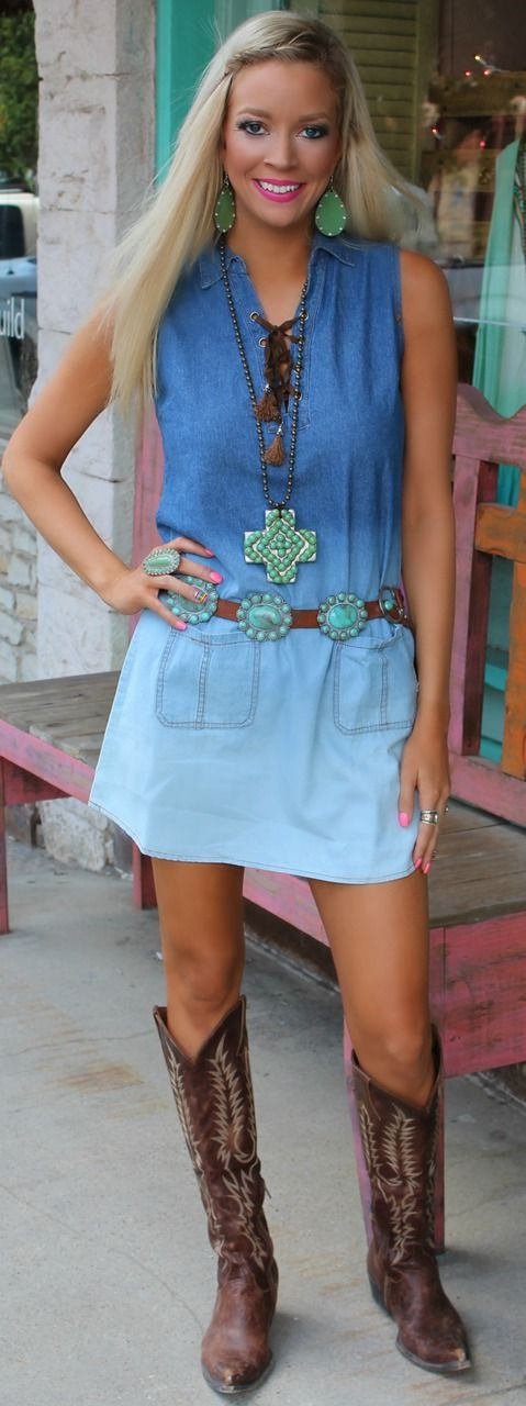 Denim Ombre Dress - The Lace Cactus