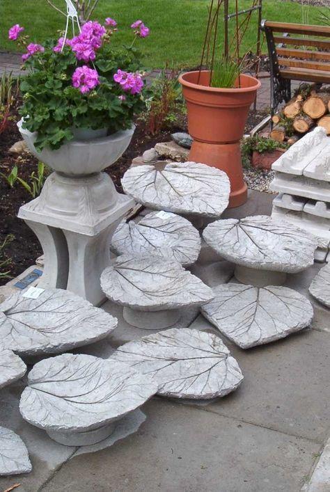 betonblätter als deko oder vogeltränke verwenden  jardin