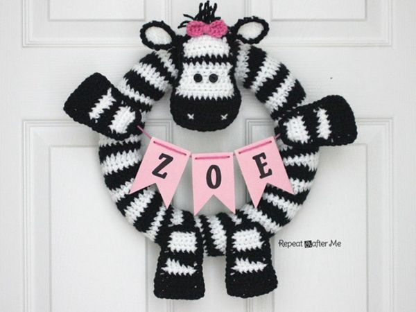 Crochet Zebra Wreath