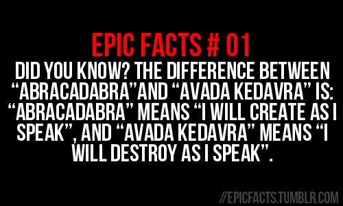 Abracadabra vs Avada Kedavra: Epic Facts, Harrypotter, Abracadabra, Fun Facts, Harry Potter Facts, Interesting, Things, Cool Facts, Open Kedavra