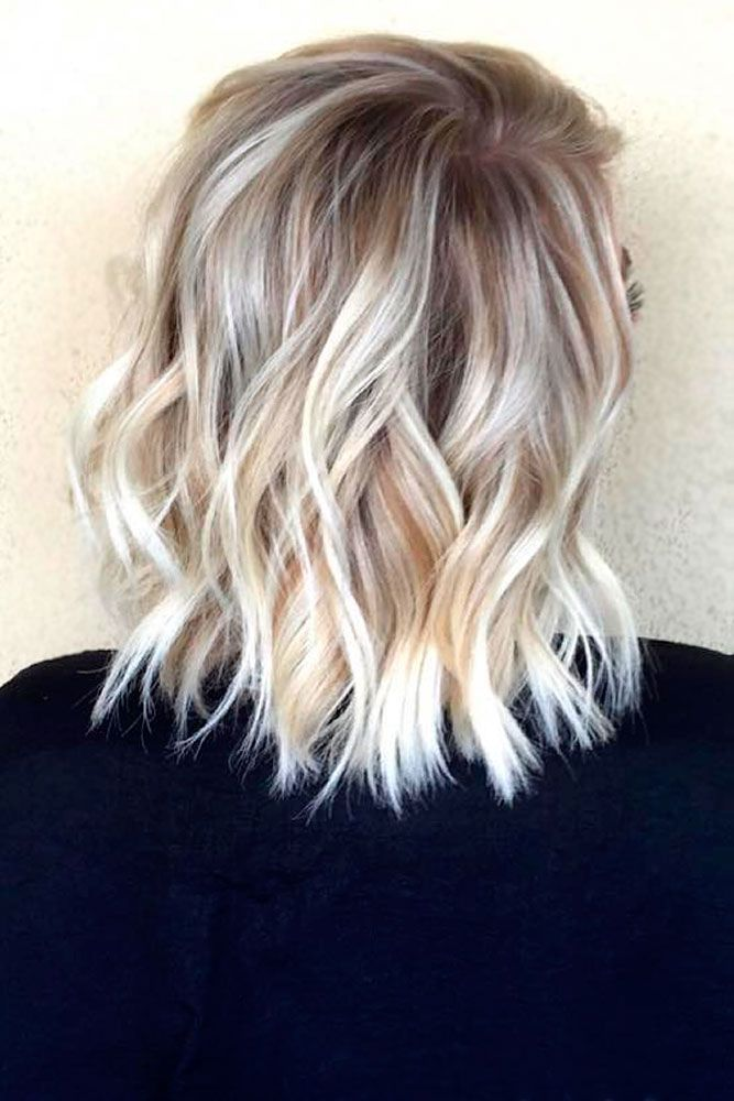 Cheveux ondulés Balayage Lob