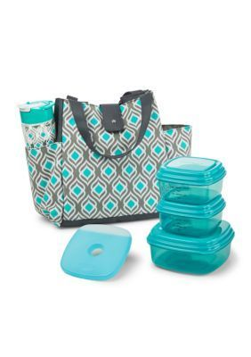 Fit  Fresh  Insulated Designer Lunch Bag Kit with Fresh Selects Container Set and Patterned Water Bottle