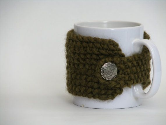 Cup Cozy Hand Knitted Wool Army Green by AGirlNamedMariaDK on Etsy #cup #cups #mug #mugs #warmer #warmers #cozy #cozies #coffee #tea #cocoa #hot #drink #drinks #etsy #agirlnamedmariadk #tableware #danish #denmark #design #scandinavia #scandinavian #knitted #knit #knitting #green #moss #olive #wool #metal #button #buttons