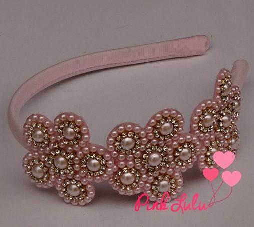 Tiara perolas rosa - Lovely Fitas