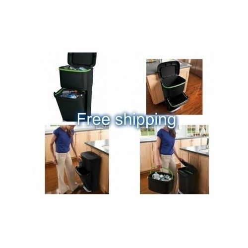 Recycling Bin Kitchen Garbage Recycle Container Double Trash Bins Gallon Basket | eBay