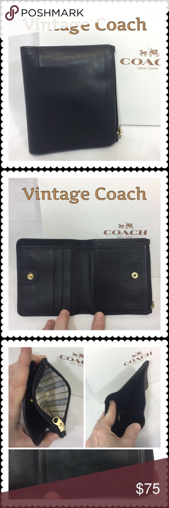 👜 Vintage Coach Leather Wallet 👜 Vintage Coach Leather Wallet 👜 A true classic, black leather, coin zip pouch, card slots and cash compartment. Snap closure. Vintage lining in excellent condition as is the Leather and all hardware. Authenticated at Coach Store in Mall of America, December 2016. Made in the late 70s. An excellent addition to any Coach combination. Asking price only receives authentic (if not original) Coach box. Coach Bags Wallets