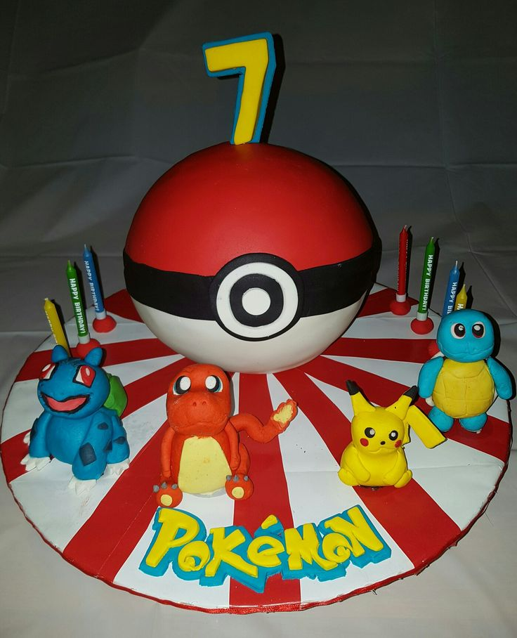 Pokemon ball cake with fondant  characters