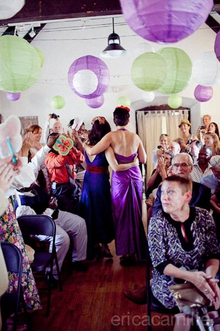 A purple-infused Old Stone House lesbian wedding in Brooklyn
