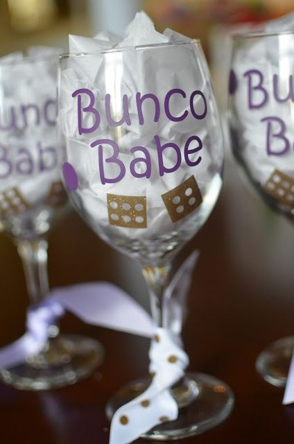 The Thrifty Spender: Fun Bunco Wine Glass for the Winners' Gifts Bunco prize win gift wine bunco