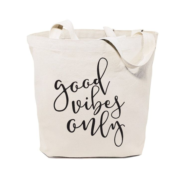 Cotton Canvas Good Vibes Only Calligraphy Tote Bag – The Cotton and Canvas Co.