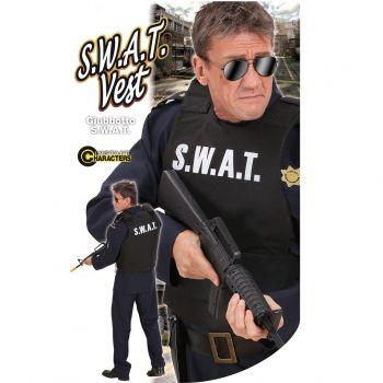 S.W.A.T. politie vest voor volwassenen. Zwart politie vest voor volwassen met daarop in grote letters S.W.A.T. Het vest is one size, ongeveer maat M/L. Carnavalskleding 2015 #carnaval