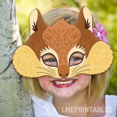 Squirrel Printable Mask Chipmunk Rodent DIY Animal Masks Booth Prop Birthday Party Games Children Adult Photo Halloween Costume Party Favor