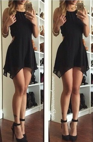 Black Chiffon Prom Dress,Short Prom
