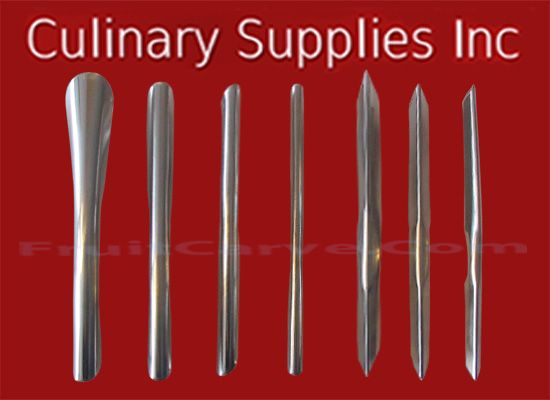 7 Piece U/V Set : Culinary Supplies Knives Garnish Tools Fruit Carving Supplies OUR UU, VV 7 Piece quality knives are made for quick and easy fruit and vegetable carving for your culinary interests sold online at fruitcarve.com or culinarysupplies.org