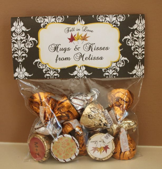 """Favor idea:  Hugs and Kisses from the Bride- and Groom-to-be  Tami's Note:  Did this for a bridal shower.  Cheap """"thank you"""" favor for any kind of event."""