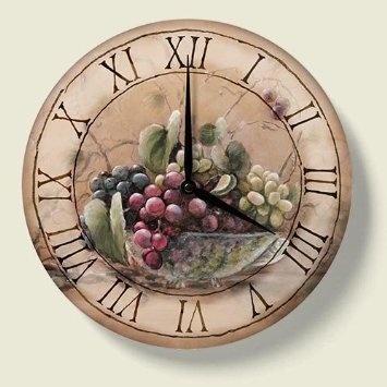 Amazon.com: Grapevine Breeze Vineyard Grape Kitchen Wall Clock: Home U0026  Kitchen