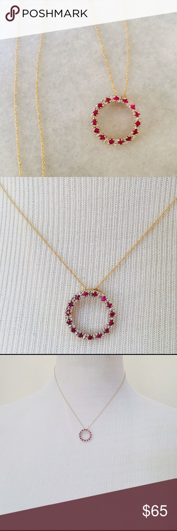 Genuine ruby & diamond necklace Genuine ruby and diamond circle necklace, 10K gold chain, never worn, vintage Jewelry Necklaces
