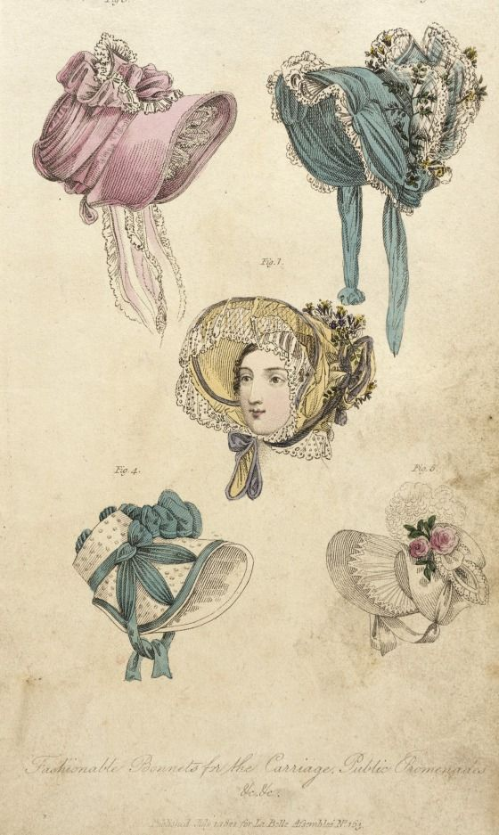 Fashionable Bonnets for the Carriage & Public Promenades - John Bell - London, England - 1 July 1822