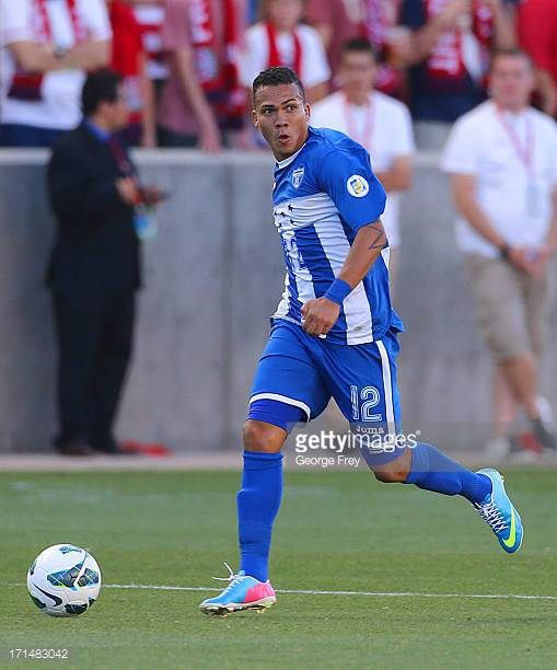Arnold Peralta of Honduras brings the ball down field during a game against the United States during the first half of an World Cup Qualifying March...